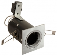 FGFSDCS Fire Rated Downlight Square GU10 Fixed - Satin Chrome - Diecast (This Matches With Varilight's Brushed Steel Ranges)