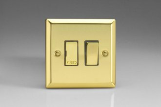 Varilight 1 Gang 13 Amp Double Pole Switched Fused Spur Classic Victorian Polished Brass Coated