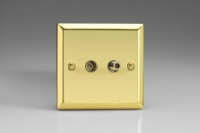 Varilight 2 Gang Co-axial TV and Satellite TV Socket Classic Victorian Brass