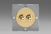 Varilight European Polished Brass VariGrid 2 Gang 1 or 2 Way 10A Toggle Switch