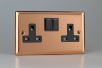 Varilight 2 Gang 13 Amp Double Pole Switched Socket Classic Polished Copper