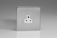 Varilight 1 Gang 2 Amp White Round Pin Socket 0-460 Watts Screwless Brushed Steel