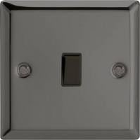 Varilight 1 Gang 10 Amp Push-to-make, Bell Push, Retractive Black Switch Classic Iridium Black