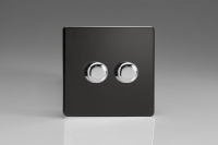 Varilight V-Dim Series 2 Gang 40-250 Watt Dimmer Screwless Premium Black