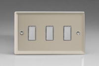 Varilight V-Pro Multi Point Tactile Touch Slave (MP Slave) Series 3 Gang Unit for use with V-Pro Multi Point Remote Master Dimmers Satin Chrome