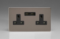 Varilight 2 Gang 13 Amp Single Pole Unswitched Socket with 2 Optimised USB Charging Ports Screwless Pewter