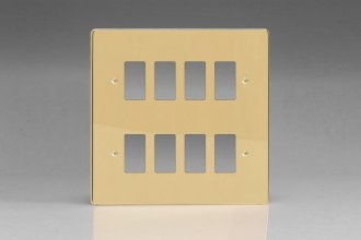 Varilight 8 Gang Power Grid Faceplate Including Power Grid Frames Dimension Polished Brass Coated