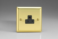 Varilight 1 Gang 2 Amp Black Round Pin Socket 0-460 Watts Classic Victorian Brass