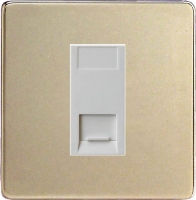Varilight 1 Gang White Telephone Slave Socket Screwless Satin Chrome