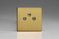 Varilight Euro Fixed Range 3 Gang RTV and Satellite Termination Socket for Analogue and Digital RTV-SAT Installations European Screwless Brushed Brass