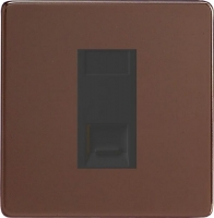 Varilight 1 Gang Black Telephone Master Socket Screwless Mocha