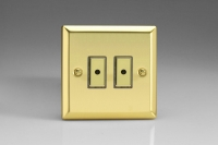 Varilight V-Pro Multi Point Remote (MPR or Eclique2) Series 2 Gang 0-100 Watts Multi Point Remote Master LED Dimmer Victorian Brass