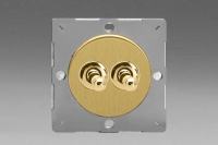 Varilight European Brushed Brass VariGrid 2 Gang 1 or 2 Way 10A Toggle Switch