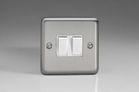 Varilight 2 Gang Comprising of 2 Intermediate (3 Way) 10 Amp Switch Classic Brushed Steel