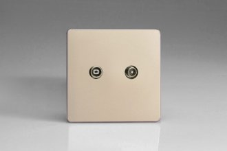 Varilight Euro Fixed Range 2 Gang RTV Termination Socket for Analogue and Digital RTV Installations European Screwless Satin Chrome Effect Finish