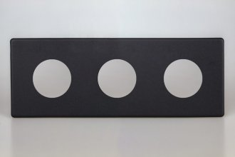 Varilight European VariGrid Triple faceplate with a 3 hole cut-out in Matt Black