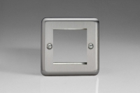 Varilight 2 Gang Data Grid Face Plate For 2 Data Module Widths Classic Brushed Steel