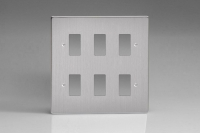 Varilight 6 Gang Power Grid Faceplate Including Power Grid Frames Dimension Brushed Steel