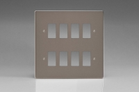 Varilight 8 Gang Power Grid Faceplate Including Power Grid Frames Dimension Pewter