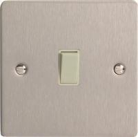Varilight 1 Gang 10 Amp Push-to-make, Bell Push, Retractive White Switch Ultra Flat Brushed Steel