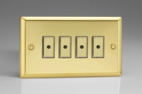 Varilight V-Pro Multi Point Remote (MPR or Eclique2) Series 4 Gang 0-100 Watts Multi Point Remote Master LED Dimmer Victorian Brass