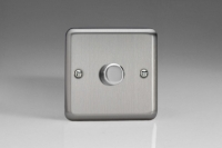 Varilight V-Com Series 1 Gang 20-400 Watt Leading Edge LED Dimmer Brushed Steel/Matt Chrome