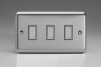 V-Pro Multi Point Tactile Touch Slave (MP Slave) Series 3 Gang Unit for use with V-Pro Multi Point Remote Master Dimmers Brushed Steel