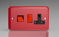 Varilight 45 Amp Double Pole Horizontal Cooker Panel with 13 Amp Switched Socket Classic Lily Pillar Box Red