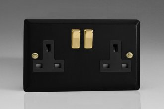 Varilight 2 Gang 13 Amp Double Pole Switched Socket Vogue Matt Black Effect Finish