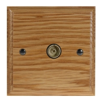 Classic 1Gang TV Co-axial Non Isolated Socket in Solid Oak