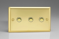 Varilight 3 Gang 6 Amp Momentary Push To Make Switch Classic Victorian Brass