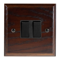 Wood 2 Gang 2Way 10Amp Rocker Switch in Solid Dark Oak