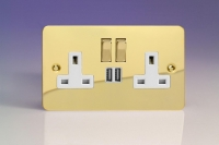 Varilight 2 Gang 13 Amp Single Pole Switched Socket with 2 x 5V DC 2.1 Amp USB Charging Ports Ultra Flat Polished Brass