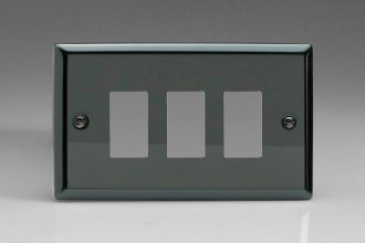 Varilight 3 Gang Power Grid Faceplate Including Power Grid Frame Classic Iridium Black Effect Finish