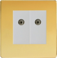 Varilight 2 Gang White Co-axial TV Socket Screwless Polished Brass