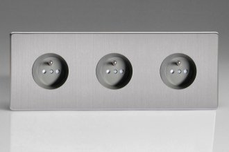 Varilight Euro Fixed Range 3 Gang 16 Amp Euro (Pin Earth) Flush Design Socket European Screwless Brushed Steel