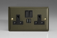 Varilight 2 Gang 13 Amp Single Pole Switched Socket with 2 x 5V DC 2.1 Amp USB Charging Ports Classic Graphite 21
