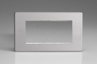 Varilight 4 Gang Data Grid Face Plate For 3 or 4 Data Module Widths Screwless Brushed Steel