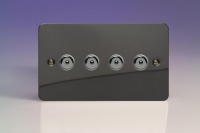 Varilight V-Pro IR Series 4 Gang 0-100 Watts Master Trailing Edge LED Dimmer Ultra Flat Iridium Black
