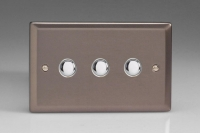 Varilight 3 Gang 6 Amp Push-on/off Impulse Switch Classic Pewter