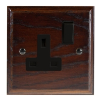 Wood 1 Gang 13Amp Switched Socket in Solid Dark Oak