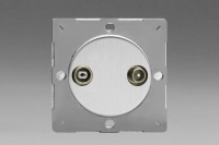 Varilight European Brushed Steel VariGrid 2 Gang Radio and TV Termination Socket