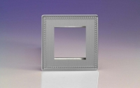 Varilight 2 Gang Data Grid Face Plate For 2 Data Module Widths Screwless Beaded Brushed Steel
