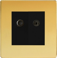Varilight 2 Gang Comprising of Black Co-axial TV and Satellite TV Socket Screwless Polished Brass