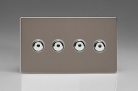 IDRI254MS-CL Varilight 4 Gang, 1 or 2 Way or Multi-way 4x250 Watt Touch/Remote Master Dimmer, Dimension Screwless Pewter