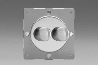 Varilight European Brushed Steel VariGrid V-Dim Thermal Series 2 Gang 1 or 2 Way 40-250 Watt Dimmer