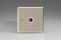 Varilight 1 Gang White Isolated Co-axial TV Socket Classic Satin Chrome