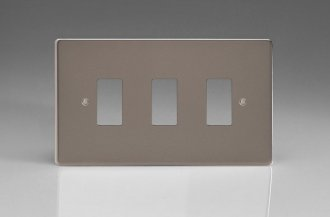 Varilight 3 Gang Power Grid Faceplate Including Power Grid Frame Dimension Pewter Effect Finish
