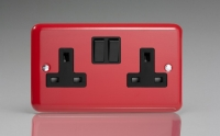 Varilight 2 Gang 13 Amp Double Pole Switched Socket Classic Lily Pillar Box Red