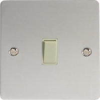 Varilight 1 Gang 10 Amp Push-to-make, Bell Push, Retractive White Switch Ultra Flat Polished Chrome